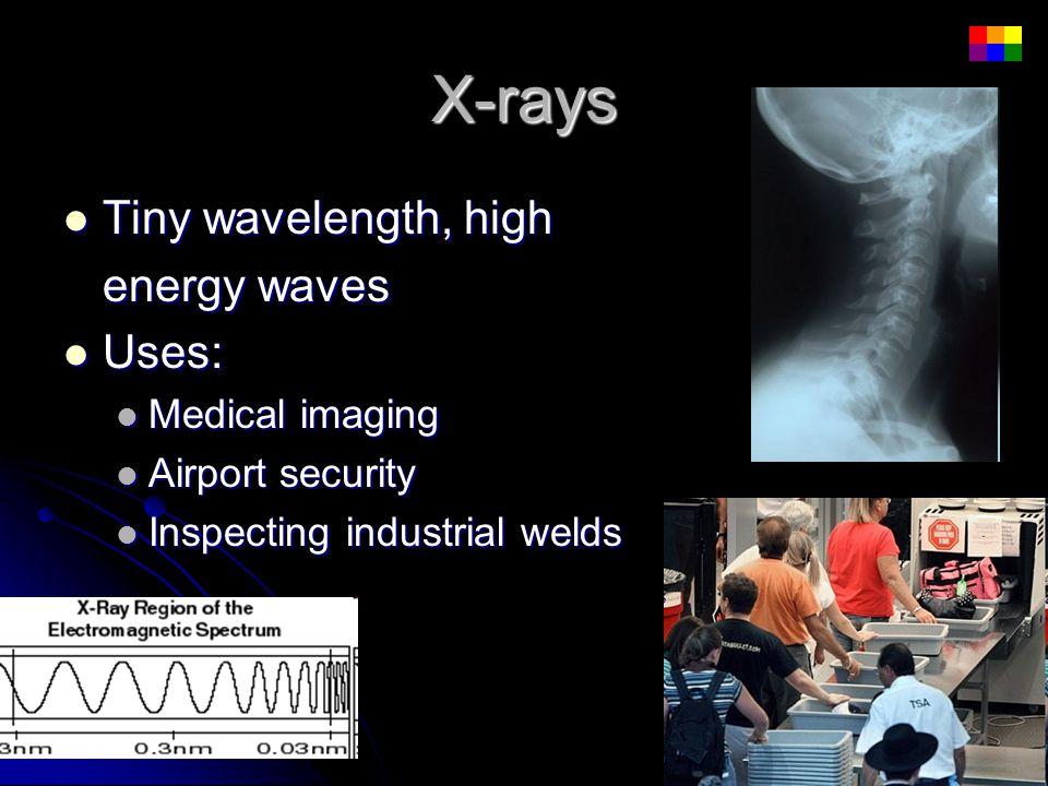 X-rays Tiny wavelength, high Tiny wavelength, high energy waves Uses: Uses: Medical imaging Medical imaging Airport security Airport security Inspecti