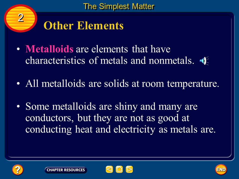 Other Elements The Simplest Matter 2 2 The solid nonmetals are generally brittle, meaning they cannot change shape easily without breaking.