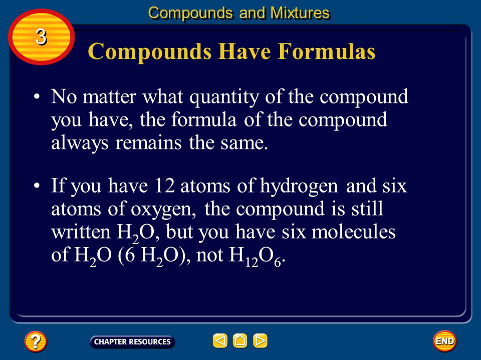 Compounds Have Formulas Carbon dioxide, CO 2 is made up of one atom of carbon and two atoms of oxygen.