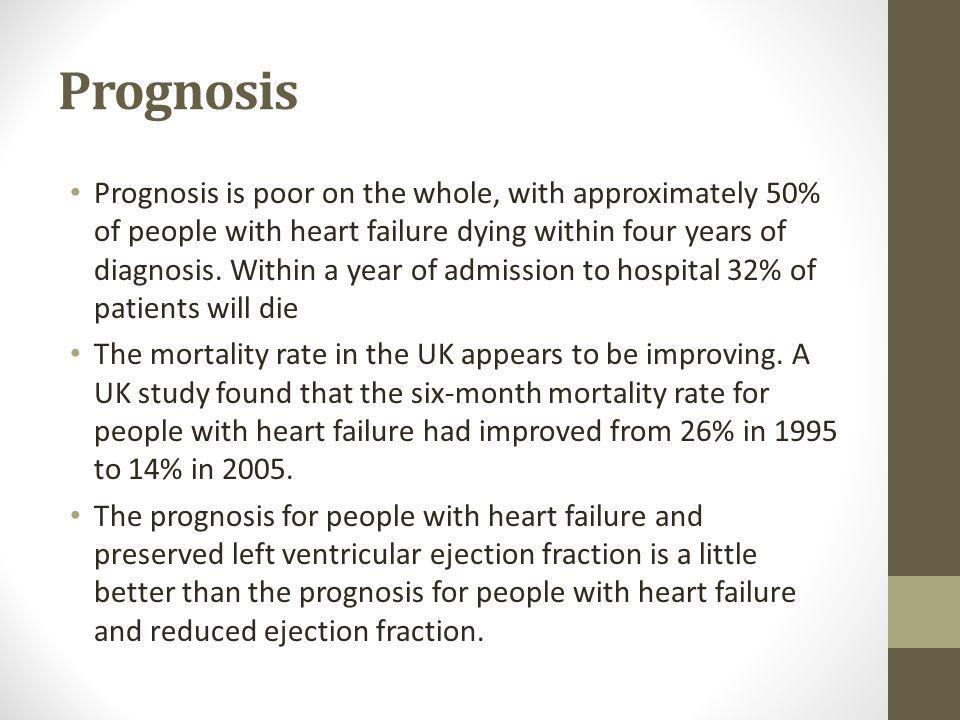Prognosis Prognosis is poor on the whole, with approximately 50% of people with heart failure dying within four years of diagnosis.
