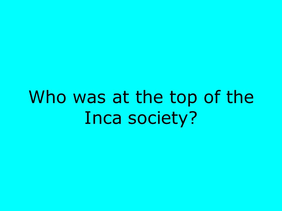 Who was at the top of the Inca society
