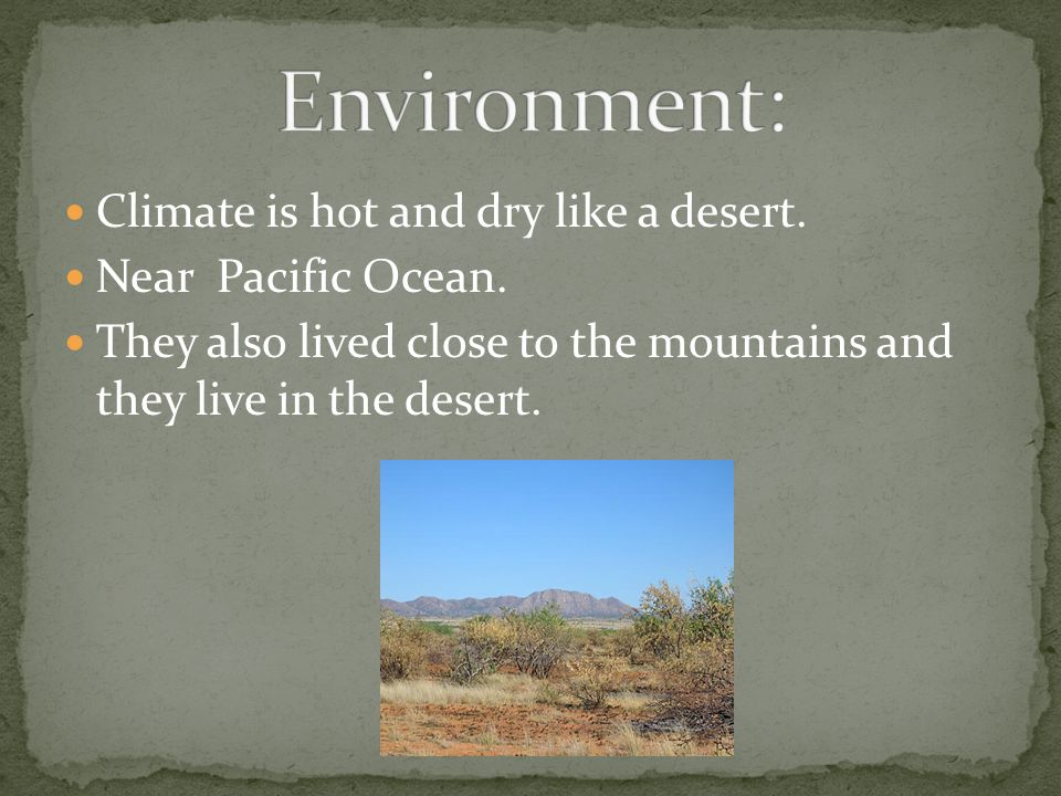 Climate is hot and dry like a desert. Near Pacific Ocean.