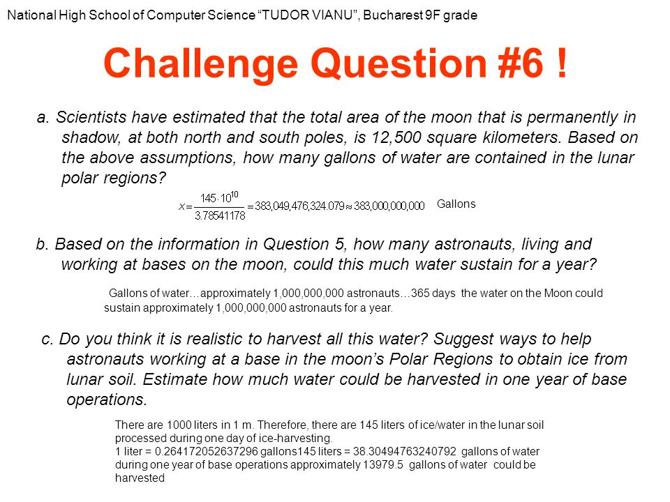 Challenge Question #6 . National High School of Computer Science TUDOR VIANU, Bucharest 9F grade a.
