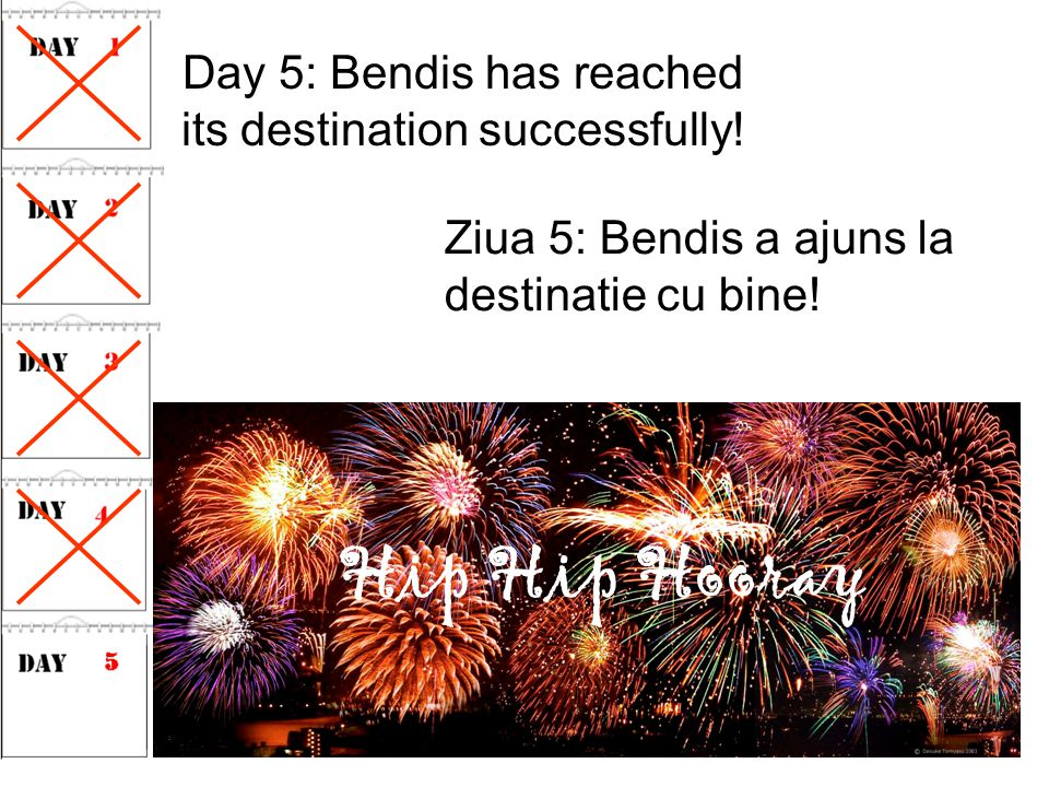 Day 5: Bendis has reached its destination successfully.
