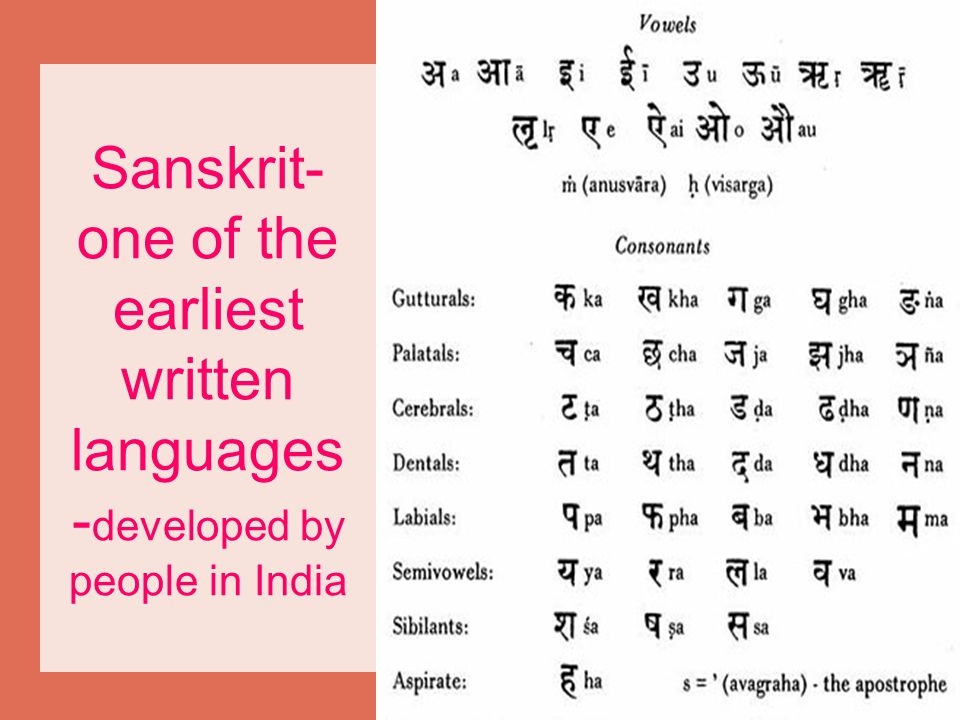 Sanskrit- one of the earliest written languages - developed by people in India