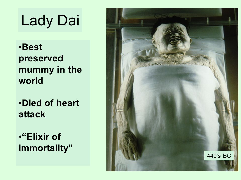 Lady Dai Best preserved mummy in the world Died of heart attack Elixir of immortality 440s BC
