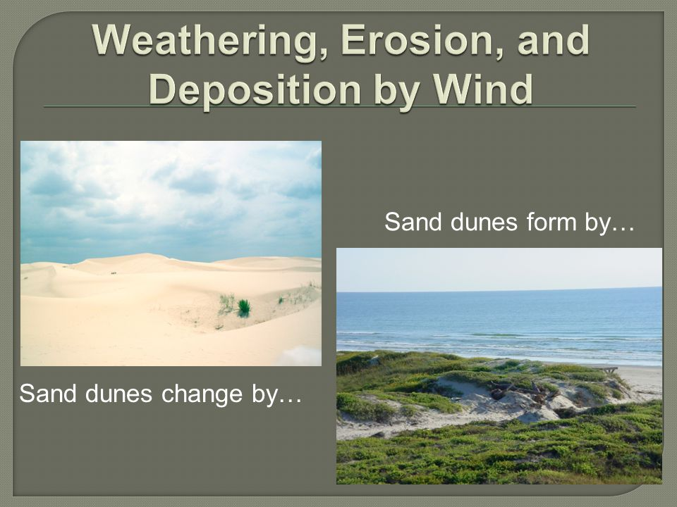 Sand dunes form by… Sand dunes change by…