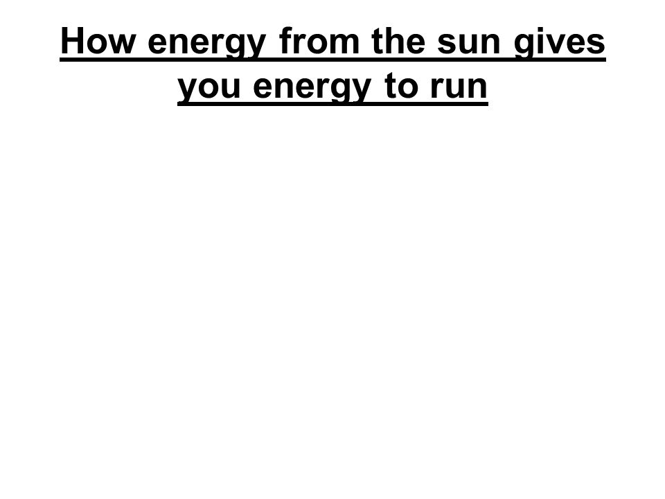 How energy from the sun gives you energy to run