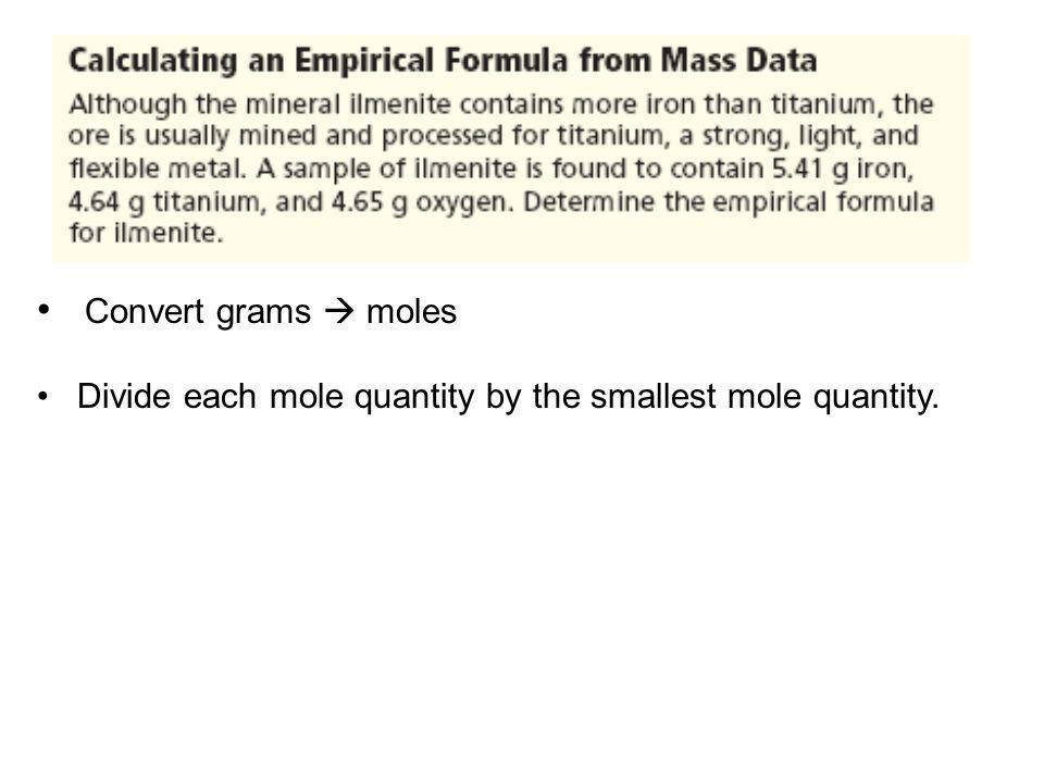Convert grams moles Divide each mole quantity by the smallest mole quantity.
