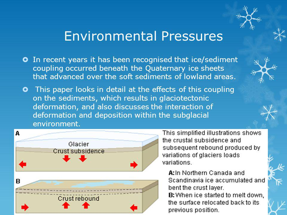 Environmental Pressures In recent years it has been recognised that ice/sediment coupling occurred beneath the Quaternary ice sheets that advanced over the soft sediments of lowland areas.