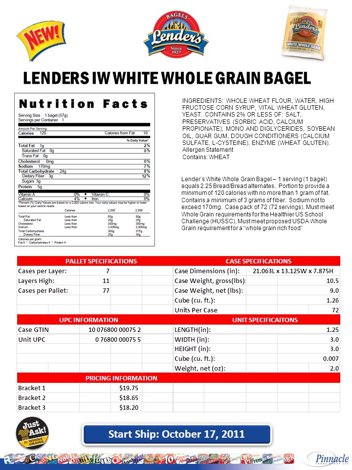 Start Ship: October 17, 2011 LENDERS IW WHITE WHOLE GRAIN BAGEL INGREDIENTS: WHOLE WHEAT FLOUR, WATER, HIGH FRUCTOSE CORN SYRUP, VITAL WHEAT GLUTEN, YEAST.