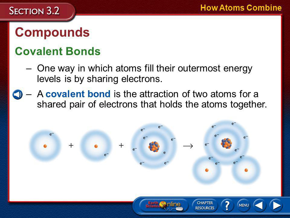 Compounds A compound is a substance that is composed of atoms of two or more different elements that are chemically combined.