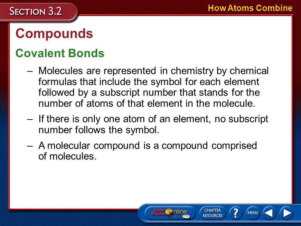 Compounds How Atoms Combine Covalent Bonds