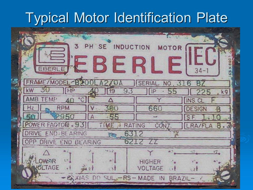 Typical Motor Identification Plate
