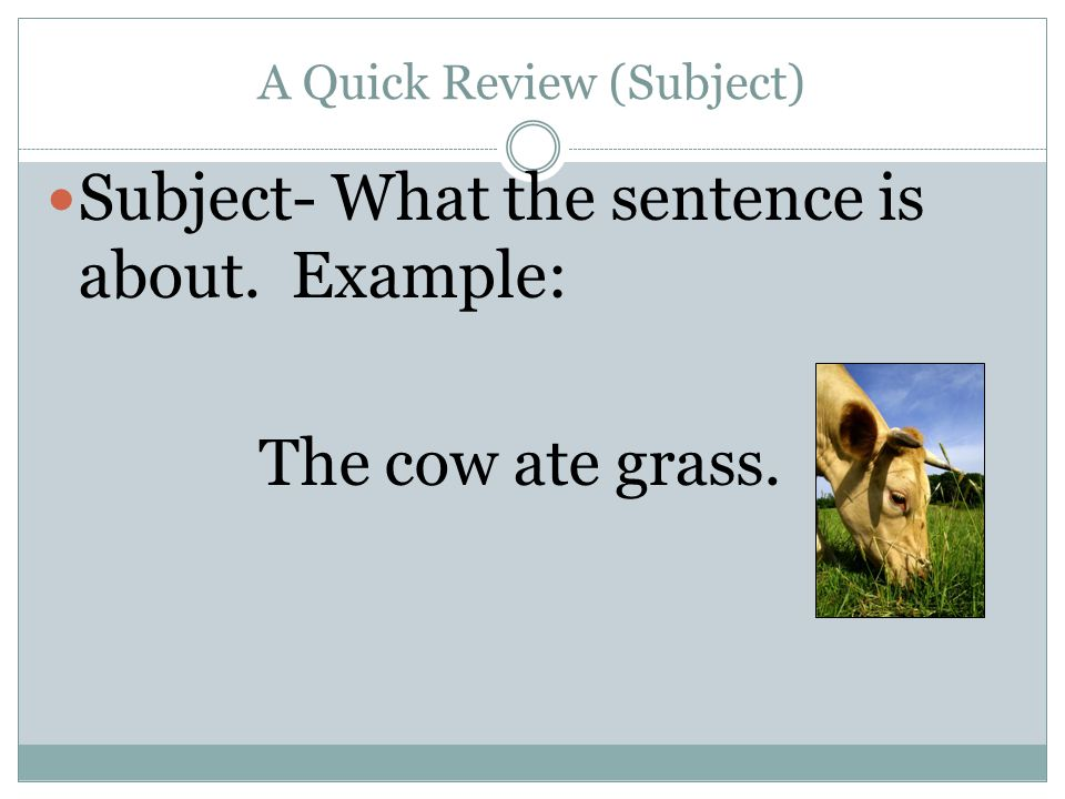A Quick Review (Subject) Subject- What the sentence is about. Example: The cow ate grass.