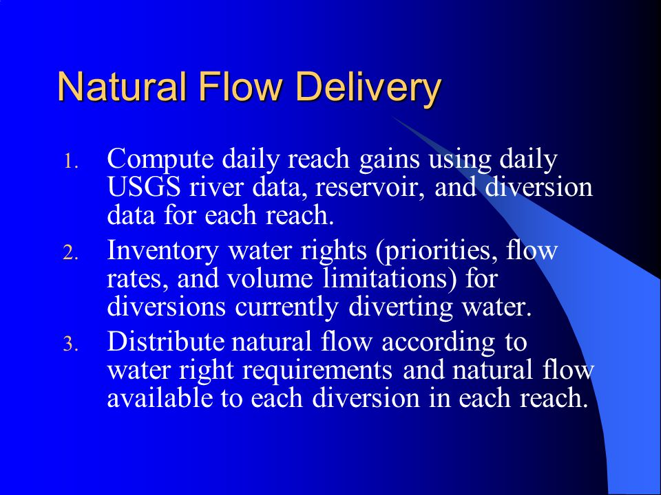 1. Compute daily reach gains using daily USGS river data, reservoir, and diversion data for each reach. 2. Inventory water rights (priorities, flow ra