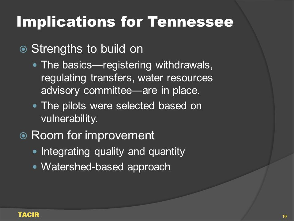 Implications for Tennessee Strengths to build on The basicsregistering withdrawals, regulating transfers, water resources advisory committeeare in pla