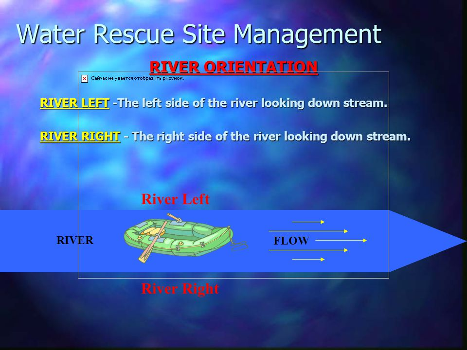 Water Rescue Site Management RIVER ORIENTATION RIVER LEFT -The left side of the river looking down stream. RIVER RIGHT - The right side of the river l