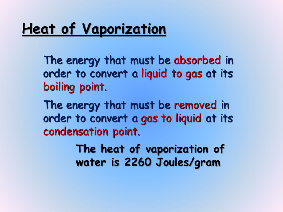 Heat of Vaporization The energy that must be absorbed in order to convert a liquid to gas at its boiling point.