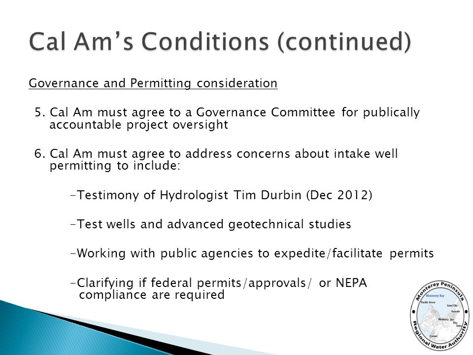 Governance and Permitting consideration 5.
