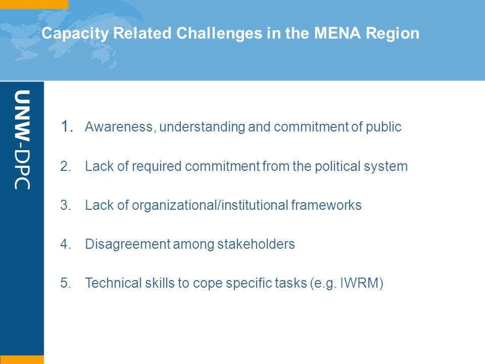 Capacity Related Challenges in the MENA Region 1. Awareness, understanding and commitment of public 2.Lack of required commitment from the political s