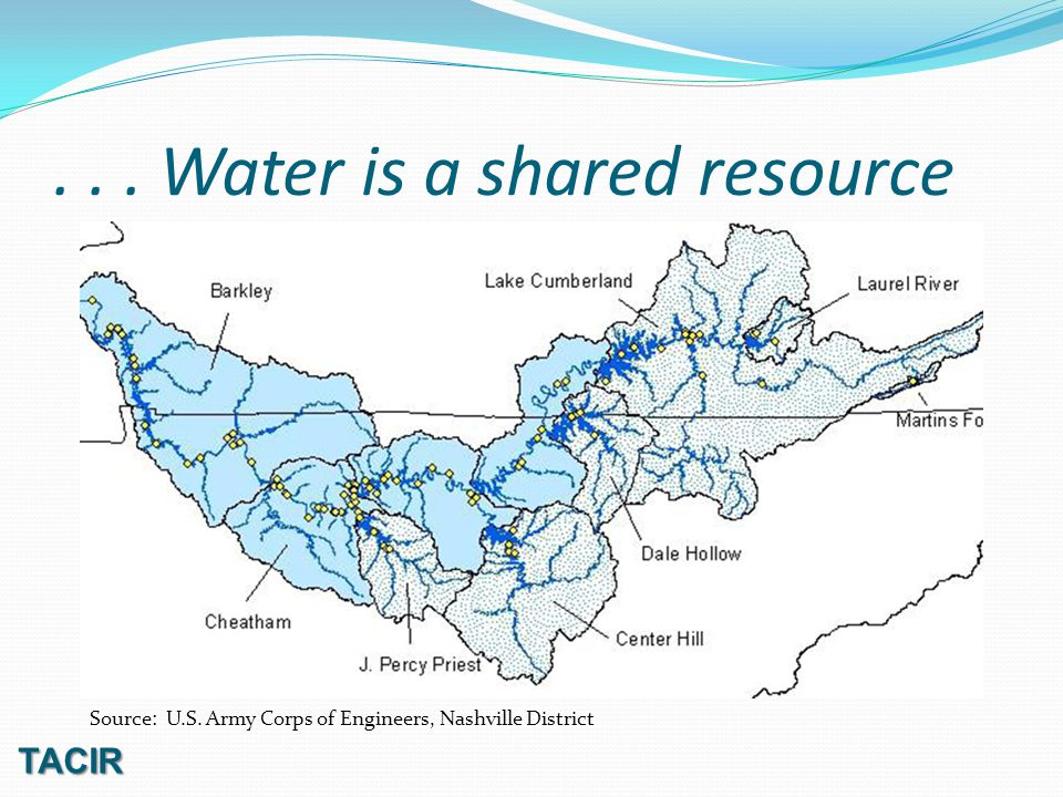 ... Water is a shared resource TACIR Source: U.S. Army Corps of Engineers, Nashville District