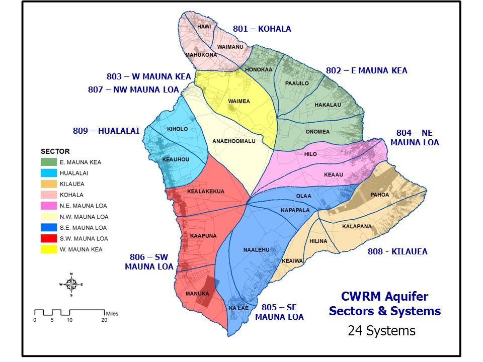CWRM Aquifer Sectors & Systems 801 – KOHALA 806 – SW MAUNA LOA 803 – W MAUNA KEA 807 – NW MAUNA LOA 809 – HUALALAI 804 – NE MAUNA LOA 808 - KILAUEA 802 – E MAUNA KEA 805 – SE MAUNA LOA 24 Systems