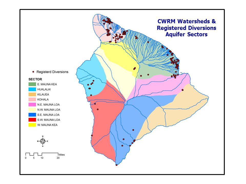 CWRM Watersheds & Registered Diversions Aquifer Sectors
