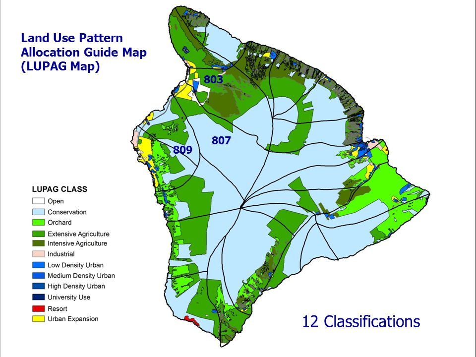 Land Use Pattern Allocation Guide Map (LUPAG Map) 809 803 807 12 Classifications