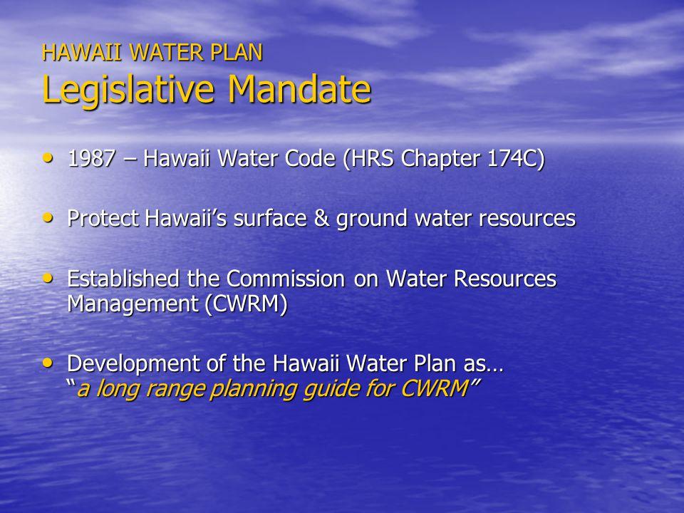 EXISTING WATER USE PROFILE SECTOR AREA 801 – KOHALA (MAHUKONA, HAWI, WAIMANU) 801