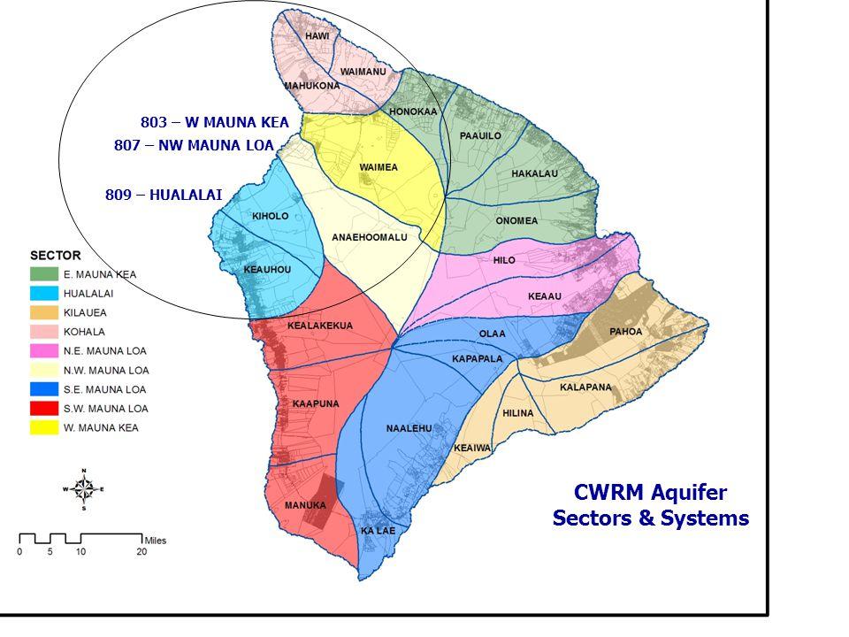 CWRM Aquifer Sectors & Systems 803 – W MAUNA KEA 807 – NW MAUNA LOA 809 – HUALALAI