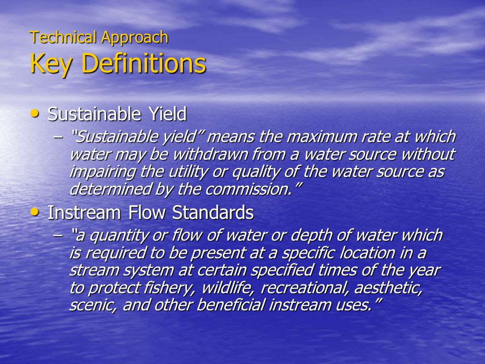 Technical Approach Projected Water Demands Full Build-out Scenarios Full Build-out Scenarios –Sustainability of Land Use Policies –Application of Standard Unit Rates to GP/Z Water Demand Projections Water Demand Projections –Infill of undeveloped or under-developed lands –Based on Population Growth Scenarios –Source Availability attenuates Development –Water System Infrastructure restricts Development –DWS treats State, County, DHHL, etc.