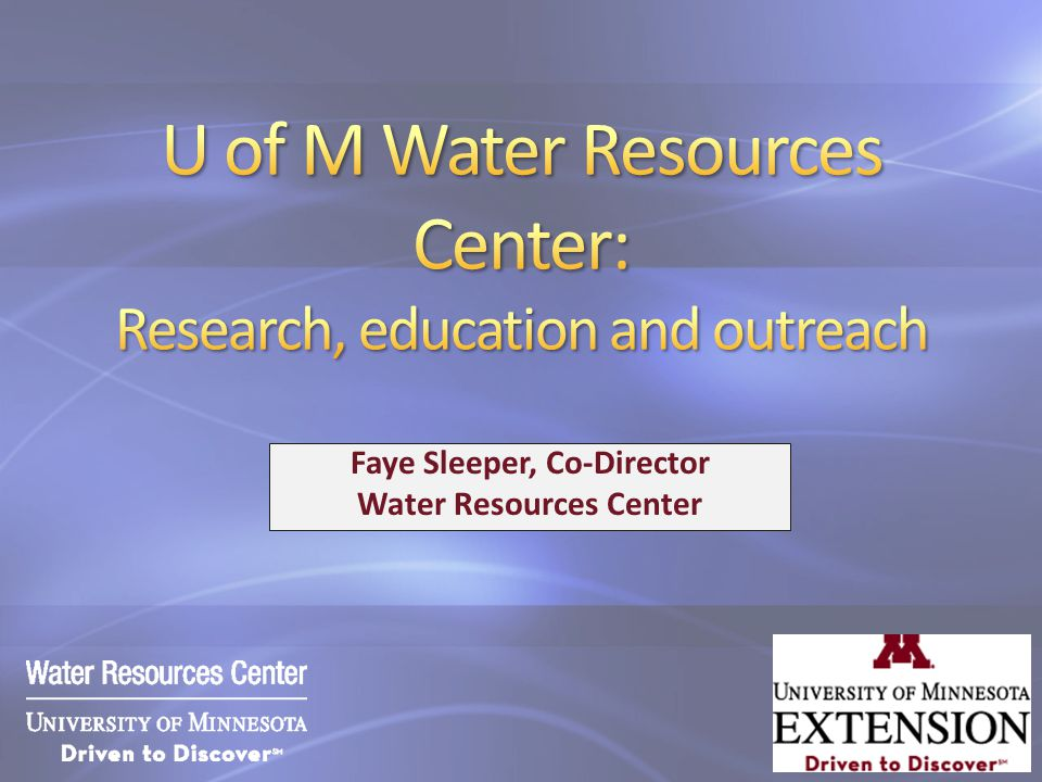 Faye Sleeper, Co-Director Water Resources Center