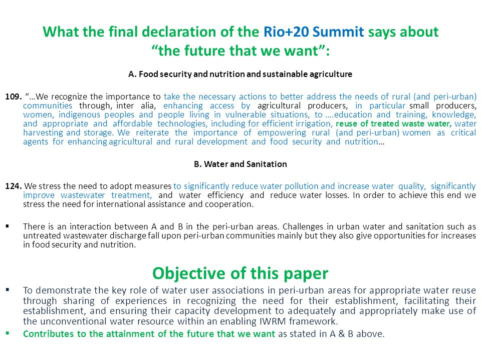 What the final declaration of the Rio+20 Summit says about the future that we want: A.