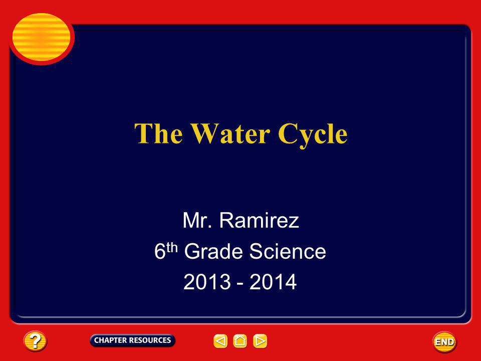The Water Cycle Mr. Ramirez 6 th Grade Science 2013 - 2014