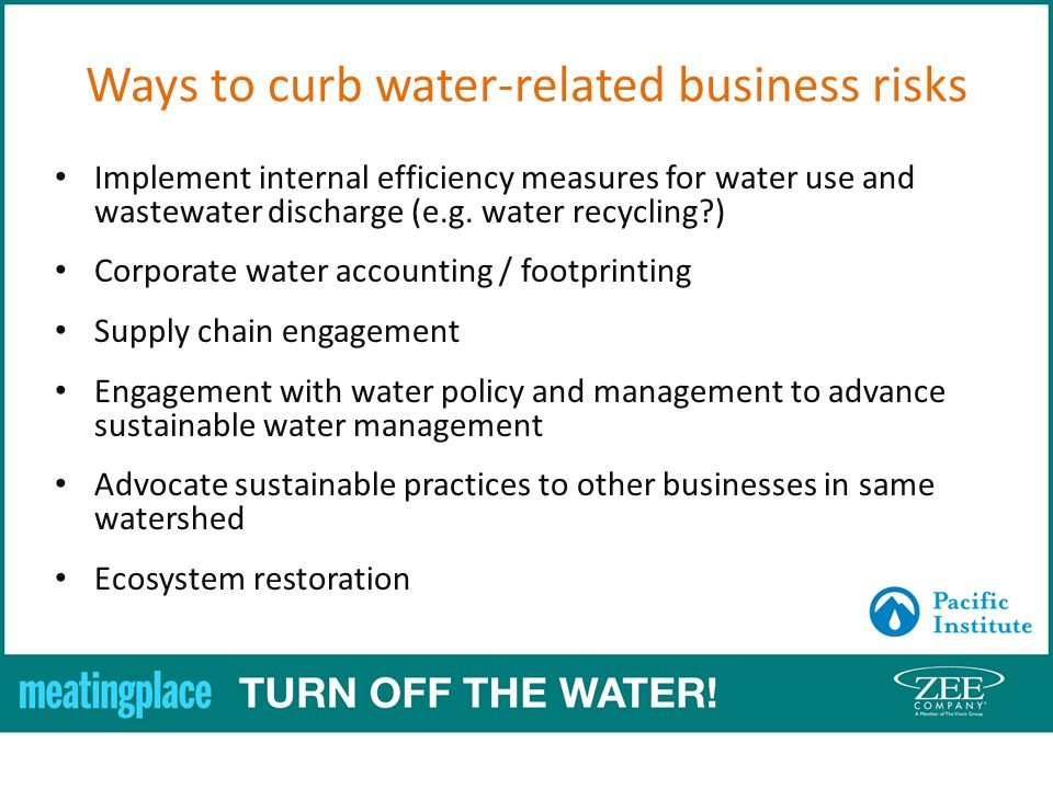 Implement internal efficiency measures for water use and wastewater discharge (e.g.