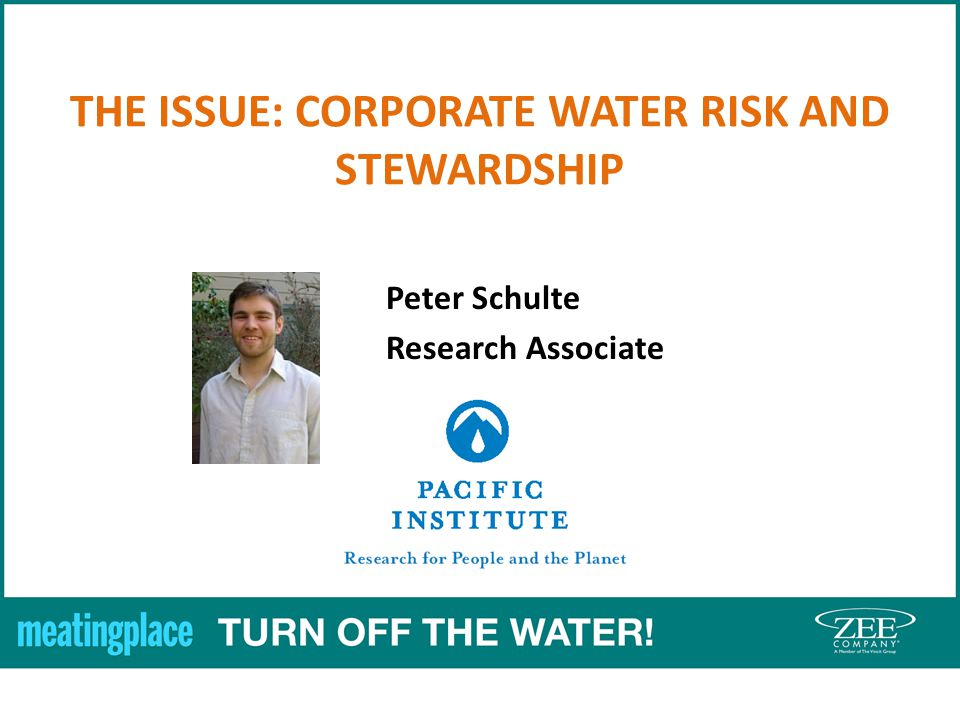 THE ISSUE: CORPORATE WATER RISK AND STEWARDSHIP Peter Schulte Research Associate