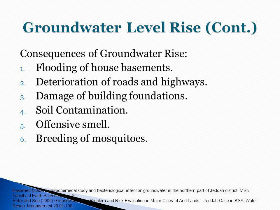 Consequences of Groundwater Rise: 1.Flooding of house basements.