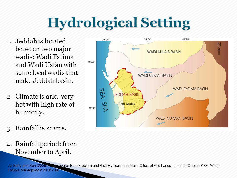 1.Jeddah is located between two major wadis: Wadi Fatima and Wadi Usfan with some local wadis that make Jeddah basin.