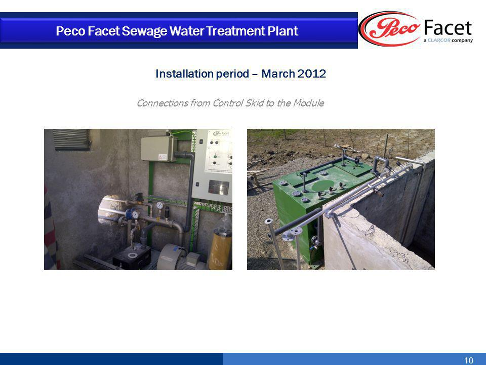 10 Peco Facet Sewage Water Treatment Plant Connections from Control Skid to the Module Installation period – March 2012