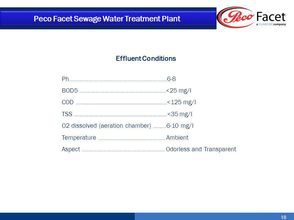 18 Peco Facet Sewage Water Treatment Plant Effluent Conditions Ph……………………………………………………6-8 BOD5 ……………………………………………..<25 mg/l COD …..……………………………………………<125