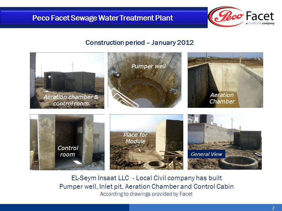 18 Peco Facet Sewage Water Treatment Plant Effluent Conditions Ph……………………………………………………6-8 BOD5 ……………………………………………..<25 mg/l COD …..……………………………………………<125 mg/l TSS …………………………………………………<35 mg/l O2 dissolved (aeration chamber) ……..6-10 mg/l Temperature …………………………………..