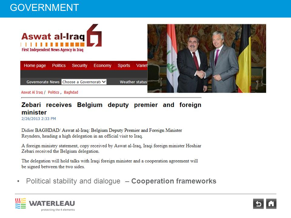 GOVERNMENT Political stability and dialogue – Cooperation frameworks