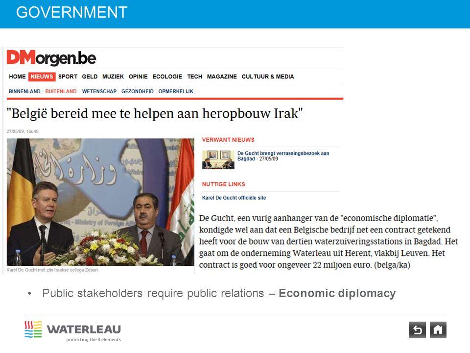 GOVERNMENT Insert newspaper head Karel De Gucht Insert newspaper head Didier Reynders Public stakeholders require public relations – Economic diplomac