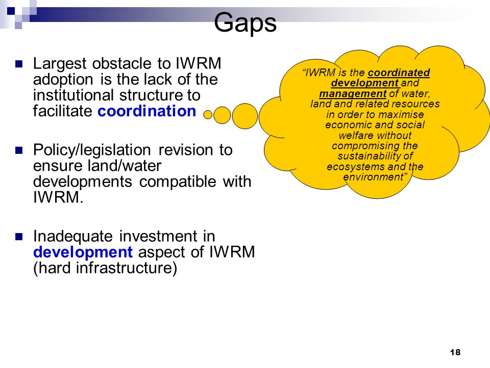 18 Gaps Largest obstacle to IWRM adoption is the lack of the institutional structure to facilitate coordination Policy/legislation revision to ensure land/water developments compatible with IWRM.
