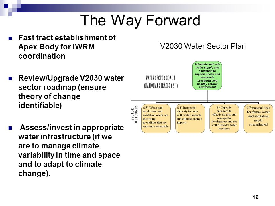 19 The Way Forward Fast tract establishment of Apex Body for IWRM coordination Review/Upgrade V2030 water sector roadmap (ensure theory of change identifiable) Assess/invest in appropriate water infrastructure (if we are to manage climate variability in time and space and to adapt to climate change).