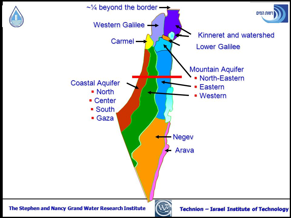 The Stephen and Nancy Grand Water Research Institute Technion – Israel Institute of Technology Carmel Kinneret and watershed Western Galilee Coastal A
