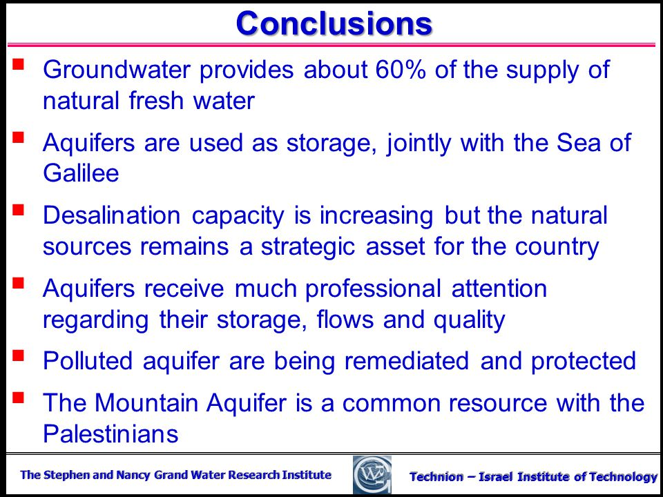 The Stephen and Nancy Grand Water Research Institute Technion – Israel Institute of Technology Conclusions Groundwater provides about 60% of the suppl