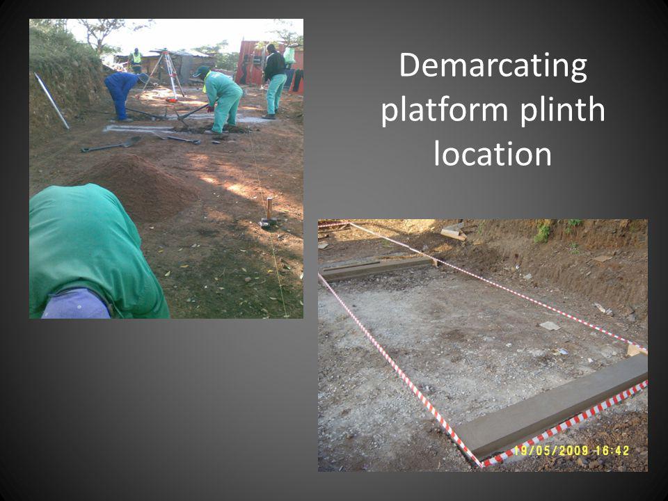 Demarcating platform plinth location