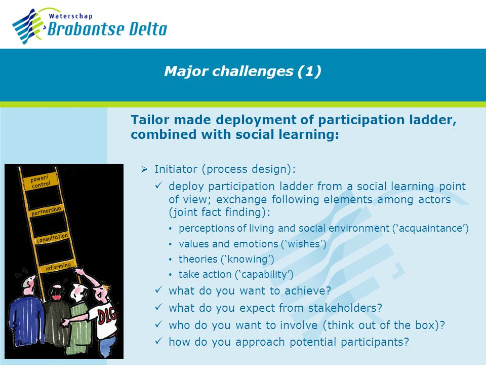 Tailor made deployment of participation ladder, combined with social learning: Initiator (process design): deploy participation ladder from a social learning point of view; exchange following elements among actors (joint fact finding): perceptions of living and social environment (acquaintance) values and emotions (wishes) theories (knowing) take action (capability) what do you want to achieve.